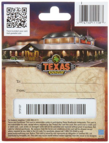 Texas Roadhouse Gift Card $25 | Gift Cards | Pinterest | Texas ...