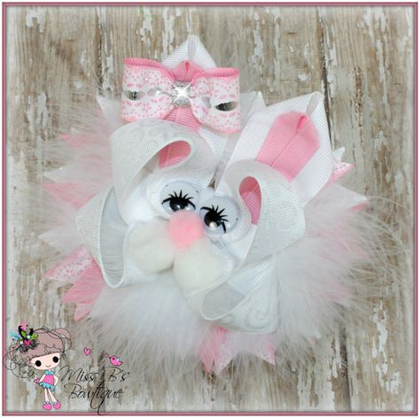 Easter Bow, Bunny Hair Bow, Boutique Hair Bow, Over the top bow