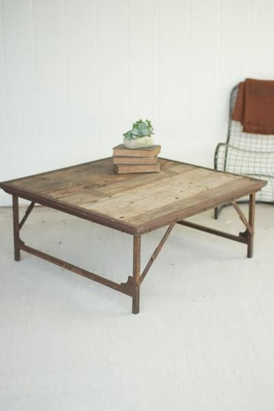 Kalalou Recycled Wood And Iron Square Folding Coffee Table