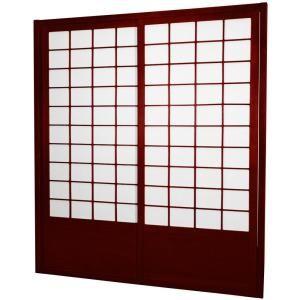Oriental Furniture 7 Ft Rosewood Shoji 2 Panel Sliding Door Shoji