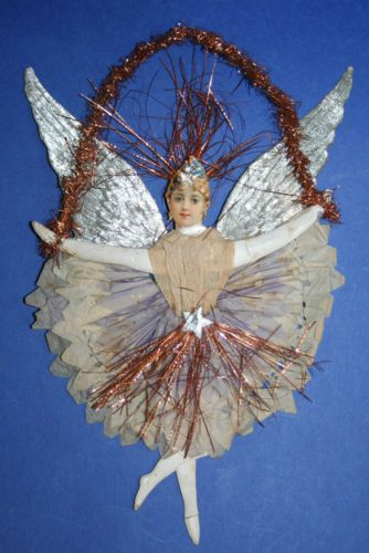 WINGS ANGEL GOLD GERMAN EMBOSSED SMALL SEVEN  CHRISTMAS PAPER ORNAMENT DOLL