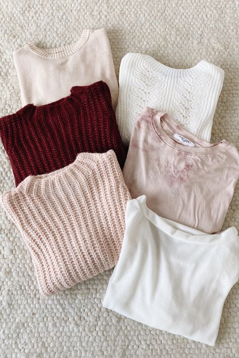 Lulus soft sweaters make for the perfect casual outfit. From versatile white to light blush, this sweater edit's color palatte makes the transition from winter to spring easy. #lovelulus