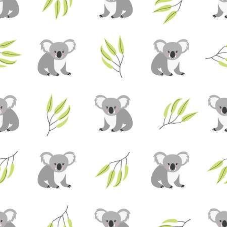 Seamless Pattern With Cute Koala Bears Vector Background Cute Koala Bear Koala Illustration Koala