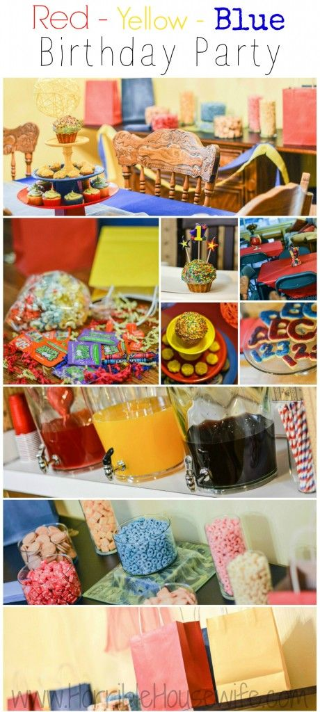 Primary color birthday party- red, yellow, blue popcorn party favors, DIY yarn balls, cupcakes, ABC and 123 sugar cookies, taco bar, and more.