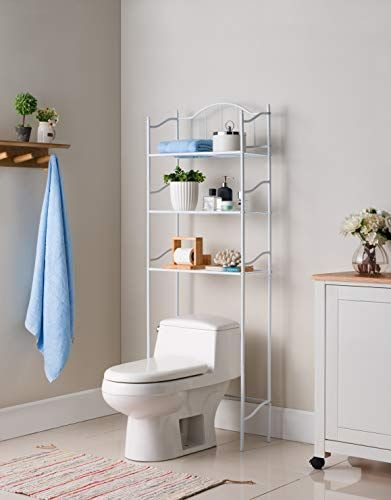 None White Metal 3 Shelf Bathroom Space Saver Storage Organizer