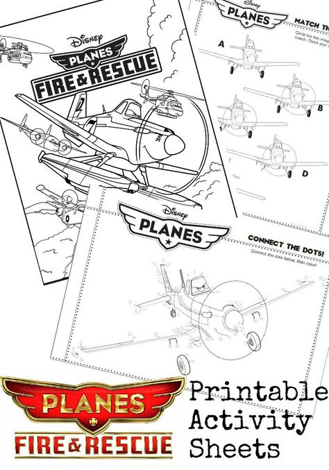 Disney Planes 2 Fire and Rescue printable activity sheets - colouring pages, connect the dots, match the planes!