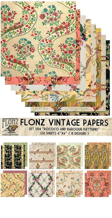 24sh 6x6 Paper Pack Art Nouveau Frames Flourishes FLONZ Vintage Paper for Scrapbooking and Craft