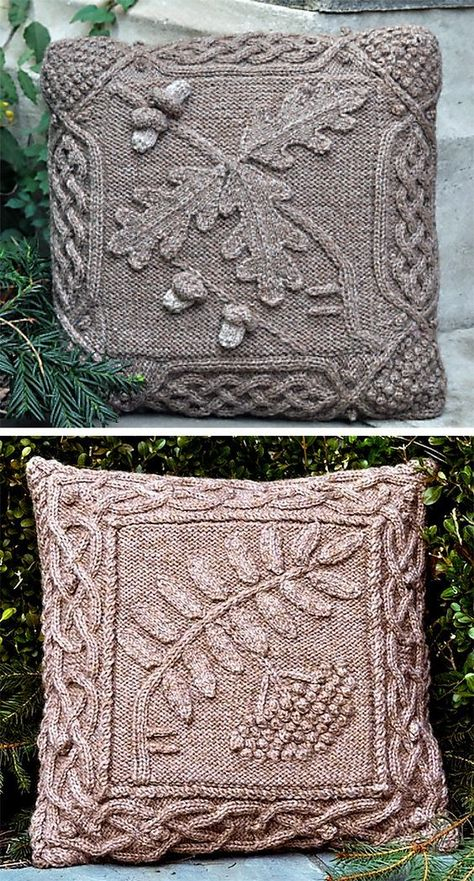 Knitting Pattern for Celtic Oak and Rowan Pillows - These pillow cover patterns feature botanical leaf designs with celtic cable borders. Worsted weight yarn. Designed by Barbara Pott.
