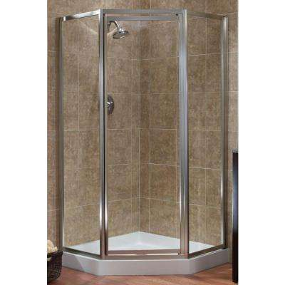 Tides 16 3 4 In X 24 In X 16 3 4 In X 70 In Framed Neo Angle Shower Door In Silver And Obscure Glass Neo Angle Shower Neo Angle Shower Doors Shower Doors