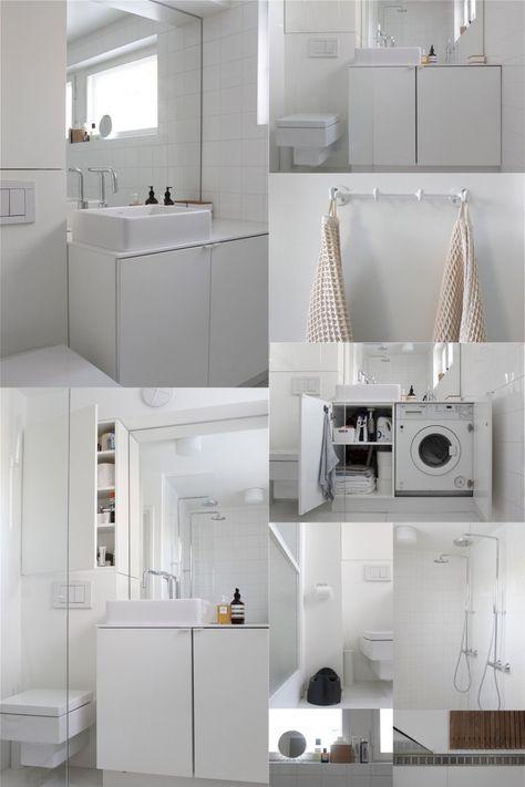 Exemple vasque sur plan et lave linge intégré avec porte pour le dissimuler.