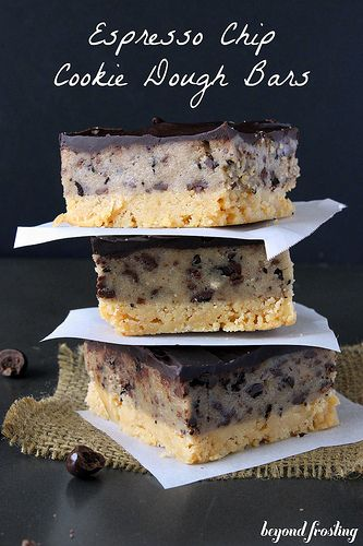 Espresso Chip Cookie Dough Bars Recipe ~ A shortbread crust, a layer of espresso chip cookie dough and topped with espresso infused chocolate ganache.