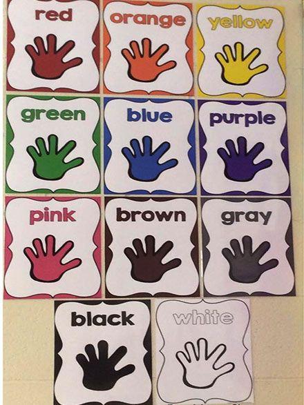 افكار لوحات مدرسية للغة الانجليزية للاطفال وسائل تعليمية بالعربي نتعلم Kindergarten Classroom Decor Teaching Colors Toddler Classroom