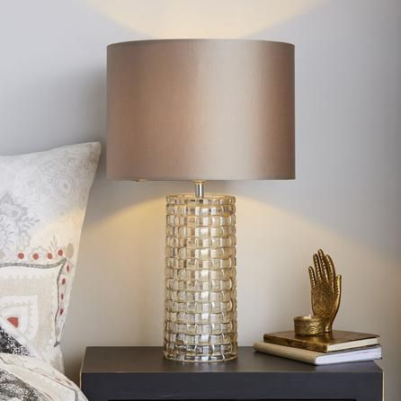 Dunelm Champagne Gold Highgate Textured Table Lamp Lamp Tall Table Lamps Bedside Table Lamps