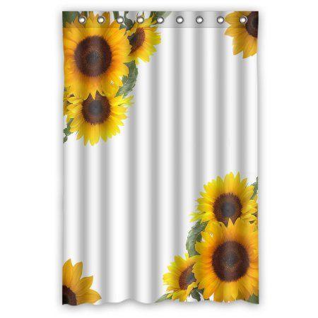 Gckg Sunflowers Waterproof Polyester Shower Curtain Bathroom Deco