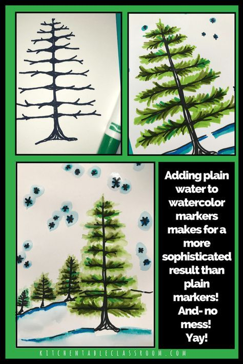 Paint With Markers Pine Tree Step By Step Tutorial The Kitchen Table Classroom Winter Art Lesson Christmas Art Projects Homeschool Art