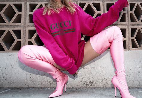Over Knee Thigh High Elastic Stretchy Shinny Pointed Toe Boots Pink