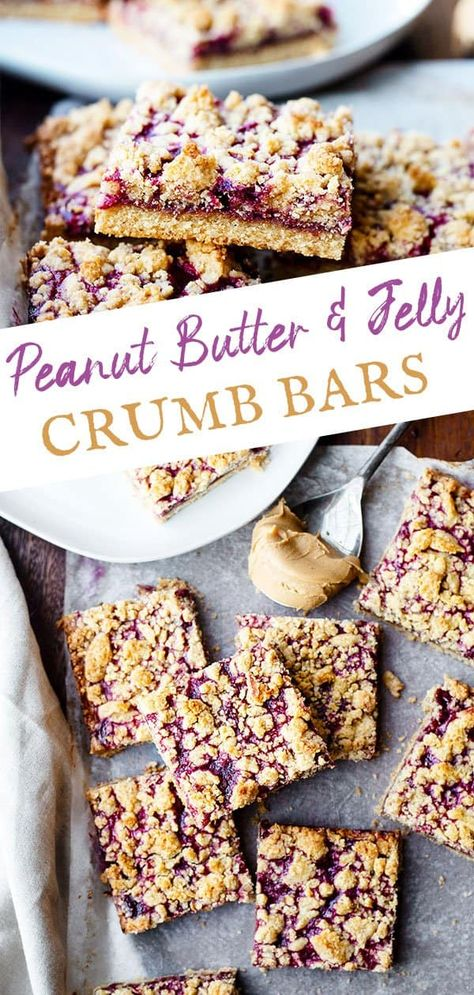Soft butter crust, topped with creamy peanut butter and blackberry jelly, set just under a crumbly sweet topping. These peanut butter and jelly crumb bars are perfect for back to school (or back to virtual school), dessert, or a mid-day snack. These are easy to make and loved by kids and adults. #crumbbars #dessert #backtoschool #peanutbutterandjelly #sugarfreecrumbbars #sugarfree #blackberryjelly #blackberrydesserts #summerdesserts #summerdessertideas #easykidsrecipes