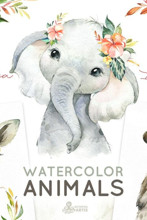 This Watercolor Collection includes Portraits of Little Animals: Elephant, Giraffe, Lion, Hippo, Rhino, Meerkats, Cheetah, Monkey, Zebra and Floral Graphics - Wreaths and Arrangements. Combine cute animals with floral graphics to create your own designs in seconds.