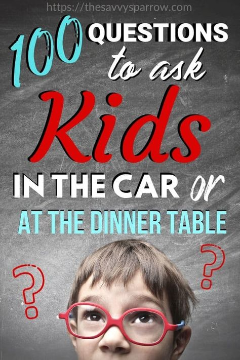 This list of questions to ask kids is a great way to get kids to open up! Printable list of funny and thoughtful questions to ask kids after school or while you're sitting around the dinner table! Fun Questions For Kids, 100 Questions To Ask, Funny Questions, This Or That Questions, Teaching Kids, Kids Learning, Dinner Table Games, Conversation Starters For Kids, Funny Jokes For Kids