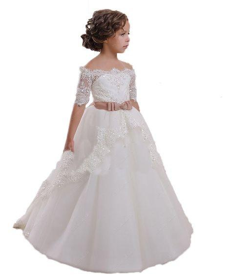 9d290633ee9 Amazon.com  CoCoBridal Lace Flower Girls Dresses Girls First Communion Dress  Princess Wedding  Clothing