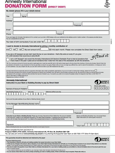 Amnesty Donation Form Template donation form template Australia - direct debit form