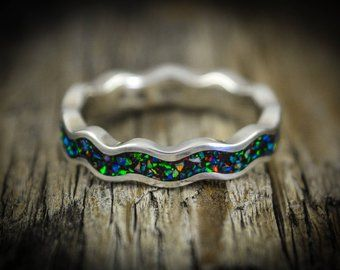 Wave Ring with Galaxy Opal 925 Sterling Silver Ring