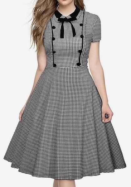 Sail To Sable Black And White Plaid Short Sleeve Dress 315 Liked On Polyvore Featuring With Images Short Sleeve Shift Dress Black White Dress Long Sleeve Shift Dress
