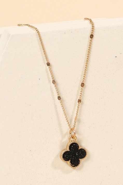 dark shimmer a black gold dipped druzy gemstone and drop spike Y necklace