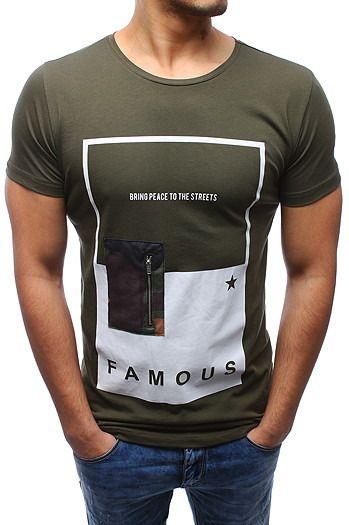 ae3e18713b T-shirt męski z nadrukiem zielony (rx2049)