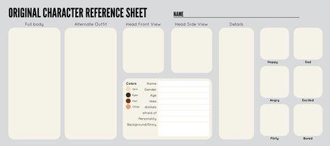Oc Sheet Template By Zippora Deviantart Com On Deviantart