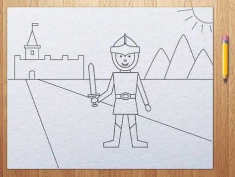 How to draw a knight step by step tutorial for kids