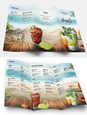 Summer Drinks Menu Template Psd Drink Menu Food Menu Template