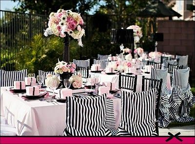 black white and light pink wedding colors great striped chair