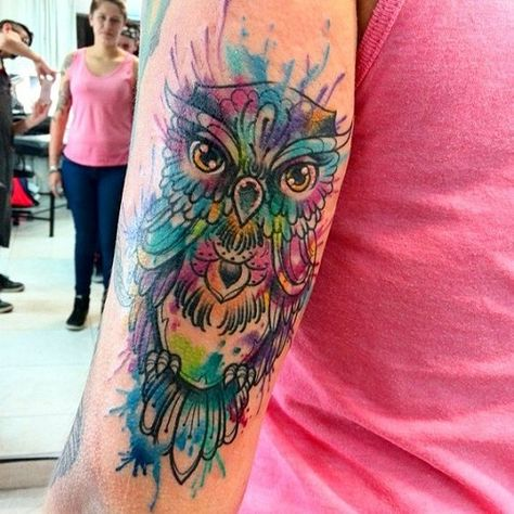 Owl Watercolor Tattoo on Forearm