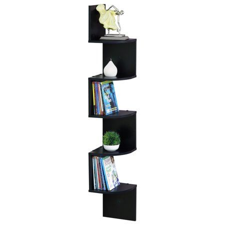 Furinno 5 Tier Wall Mount Floating Radial Corner Shelf Fr16122ex Walmart Com Corner Shelves Furinno Shelves