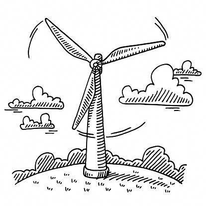 Rotating Wind Turbine Drawing Molinos De Viento Dibujos Energia Eolica