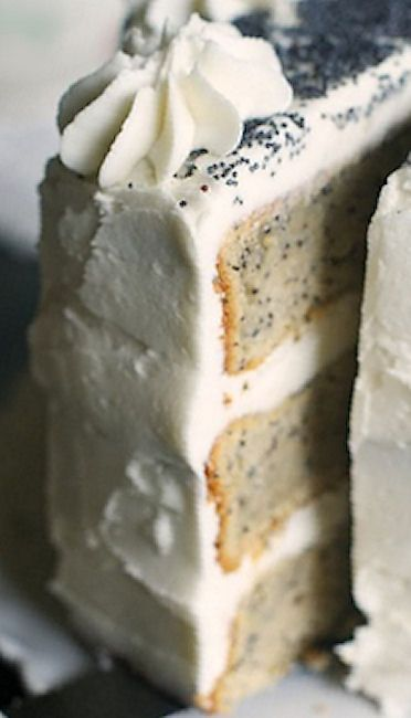 Spiced Poppyseed Cake with Almond Buttercream Frosting Recipe. | Bake at 350