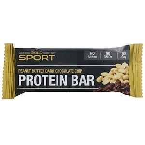 California Gold Nutrition スポーツ プロテインバー ピーナッツバター ダークチョコチップ グルテンフリー 2 1 オンス 60 G Discontinued Item Protein Bars Dark Chocolate Chips Chocolate Chip