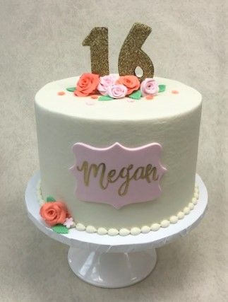 Floral Sweet 16 Cake With Images Sweet Sixteen Cakes 16th Birthday Cake For Girls 16 Birthday Cake