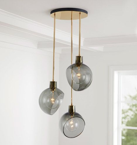 Rejuvenation Pendant Lighting Smoked Glass Light
