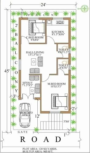 120 Sq Ft House Plans Fresh Image Result For 900 Sq Ft House Plans In 2020 900 Sq Ft House Square House Plans 2bhk House Plan