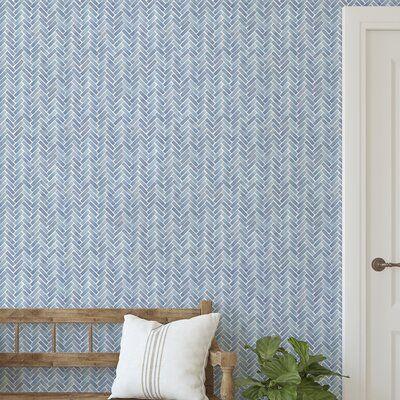 Magellan Watercolor Herringbone Paintable Peel And Stick Wallpaper Panel In 2021 Wallpaper Panels Herringbone Wallpaper Peel And Stick Wallpaper