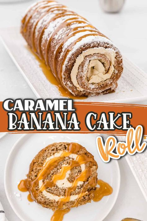 This Banana Cake Roll is a soft, homemade banana bread cake wrapped around a delicious cream cheese filling. Each slice of this moist banana bread is better than the last! Top it off with our homemade caramel drizzle.
