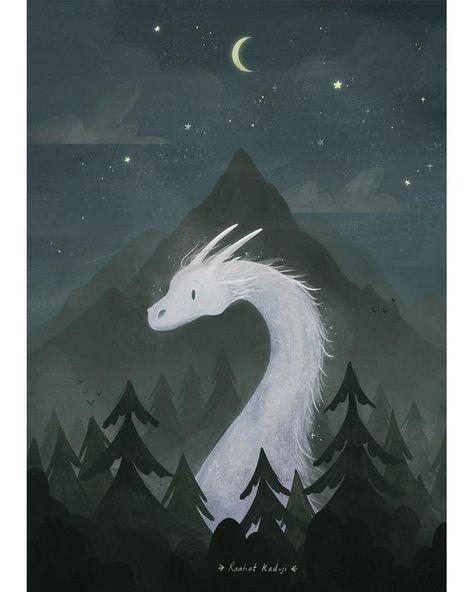 Dragon Art Print Mythical Animal Illustration Fantasy Wall | Etsy