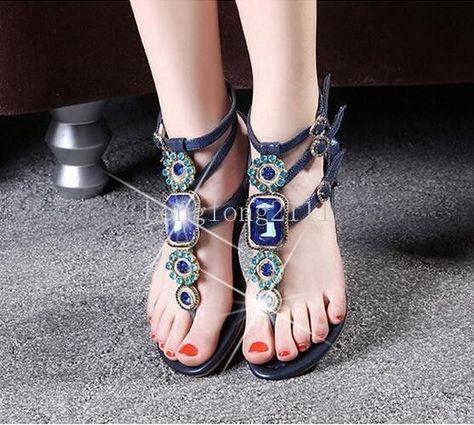 afa394431a4 Womens Bohemian Flats Rhinestones T Strap Sandals Girl Flip Flop Party Shoes  Hot