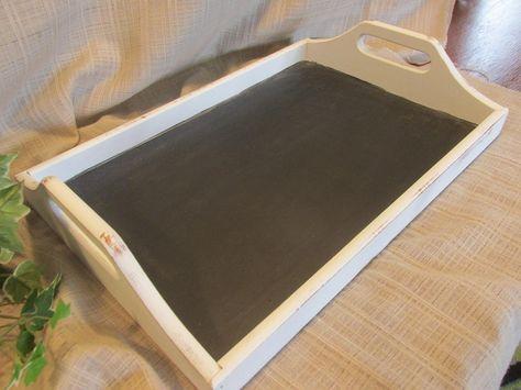 Decorative Tray Chalk Board Kitchen Decor Cottage Chic Solid