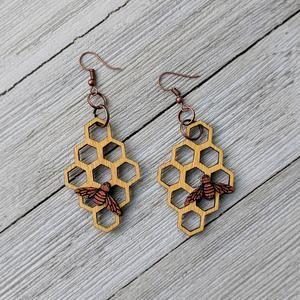 Bee and Honeycomb Earrings Yellow Wood