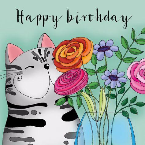 Verjaardagskaart Kat vaas bloemen - SK, verkrijgbaar bij #kaartje2go voor € 1,99