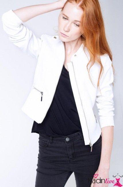 Defacto Kadin Beyaz Suni Deri Ceket Modelleri Kadinlive Com Moda Stilleri Deri Ceket Kadin