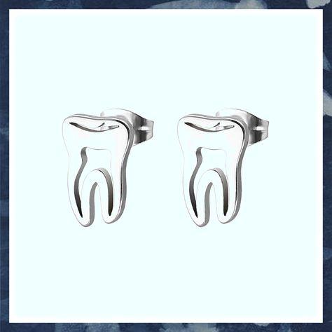 (This is an affiliate pin) YINLIN Cute Hollow Dentist Tooth Stud Earring #womenwhofish #womensfashionblog